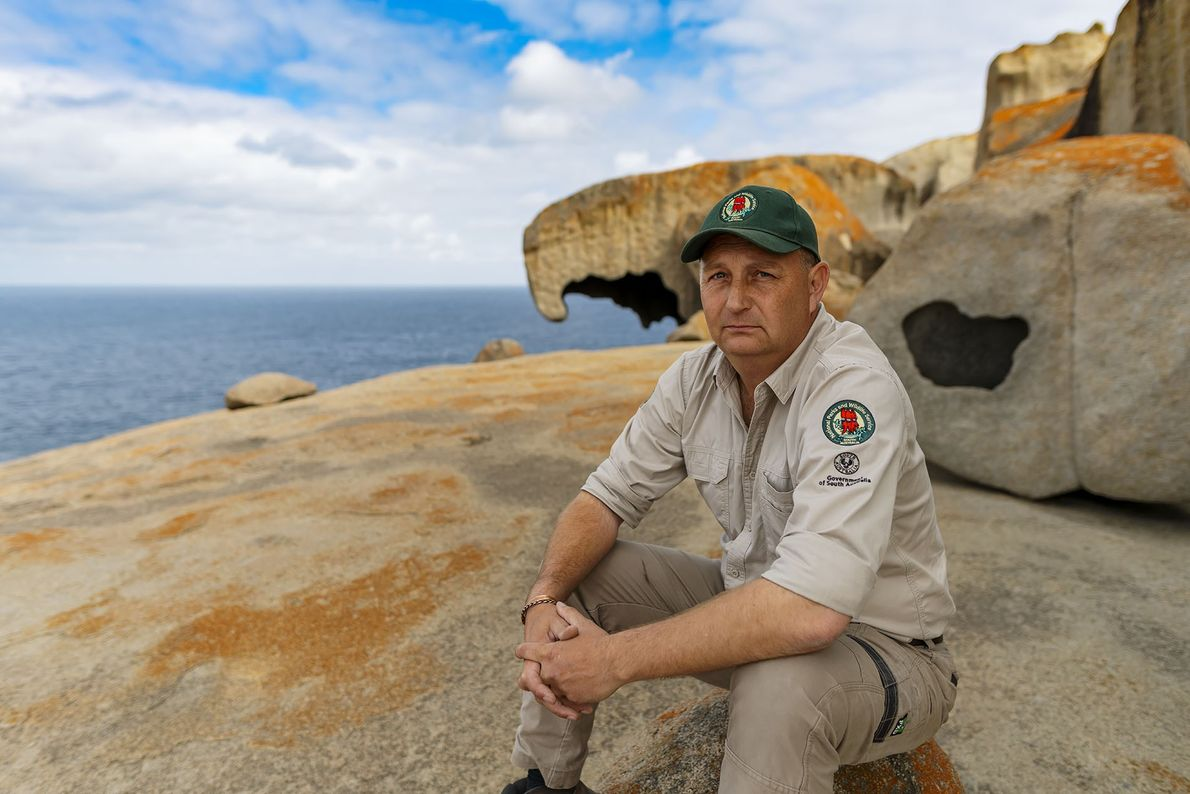 Mike Greig, NPWSSA Kangaroo Island parks and wildlife manager, faces the challenge of clearing up after ...