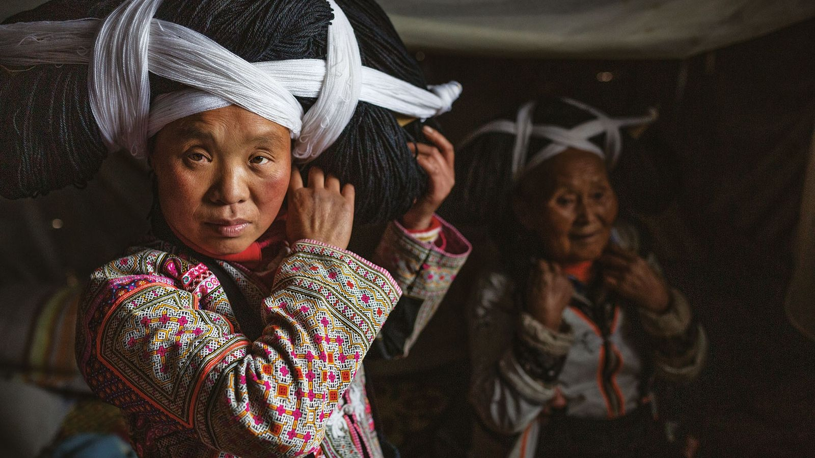 Women of the Longhorn Miao tribe in Guizhou province