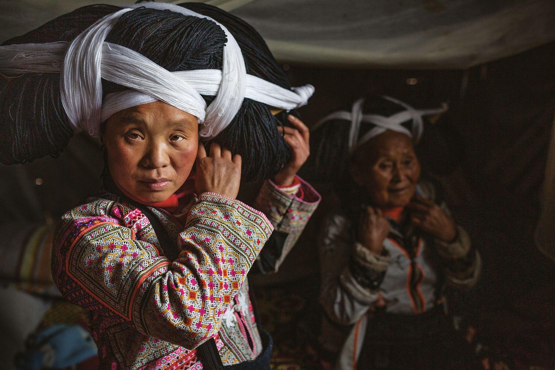 Women of the Longhorn Miao tribe in Guizhou province