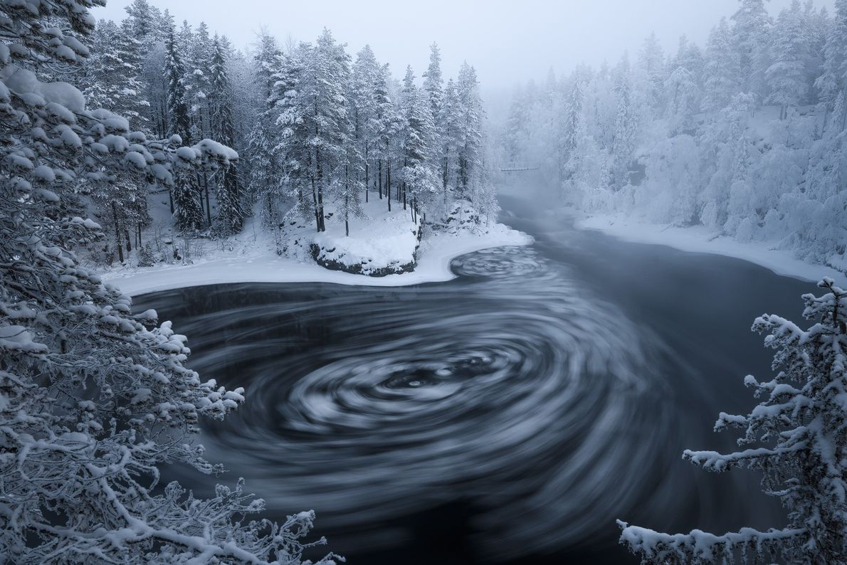 """Stian Klo: """"The Myllykoski rapids in Oulanka National Park was particularly atmospheric this cold January morning. ..."""