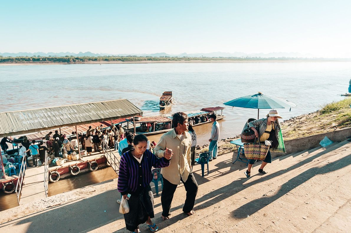 Weekly markets at a few points along the Mekong allow Lao traders to set up stall ...