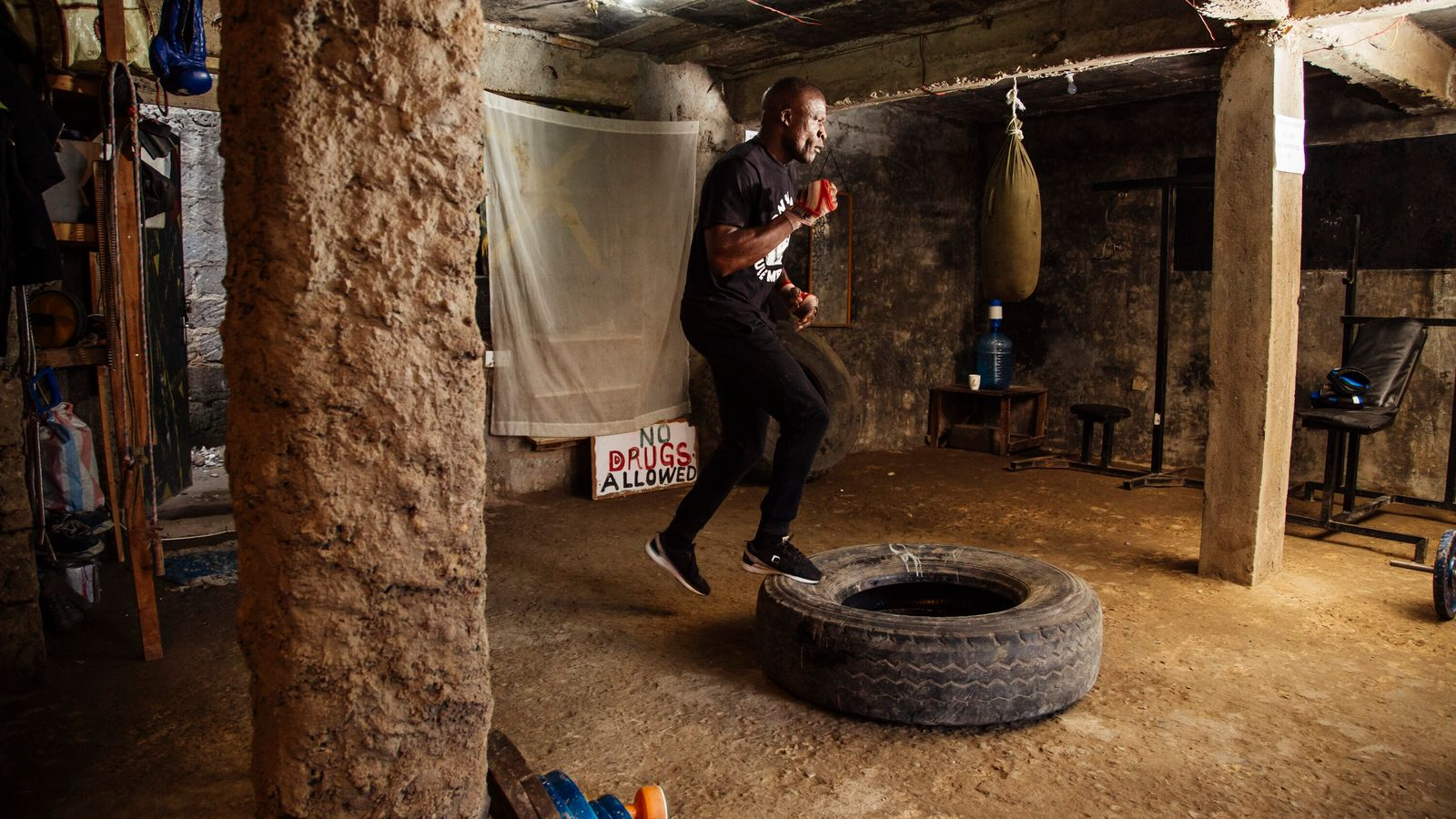 "James ""Onyi Yule Mbaya"" Onyango trains in his gym in Kariobangi, Nairobi. Onyango was the World Boxing ..."
