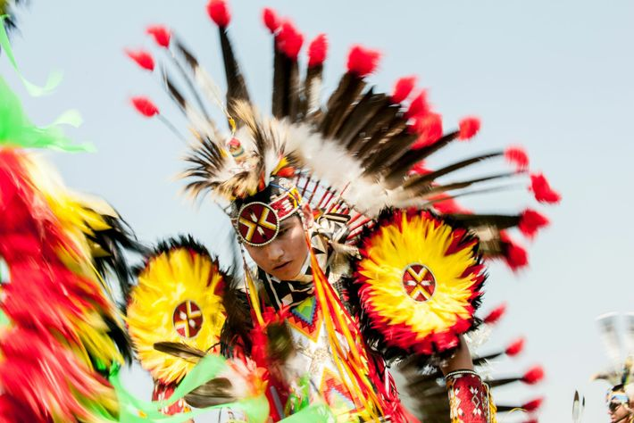 A young Blackfeet Indian performs thethe Sun Dance at the North American Indian Daysin Browning, Montana.This ...