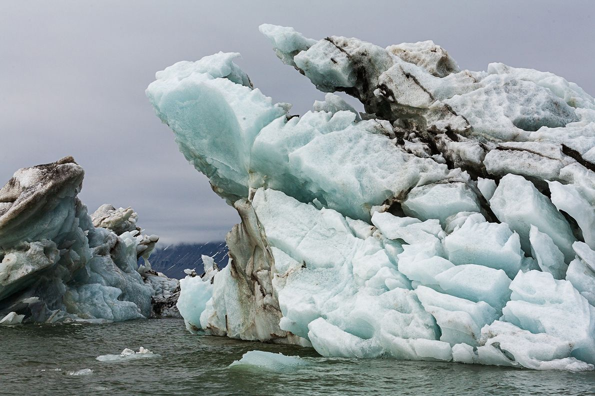 Once thought to a product of microscopic marine life, like the algae colouring this ice, the ...