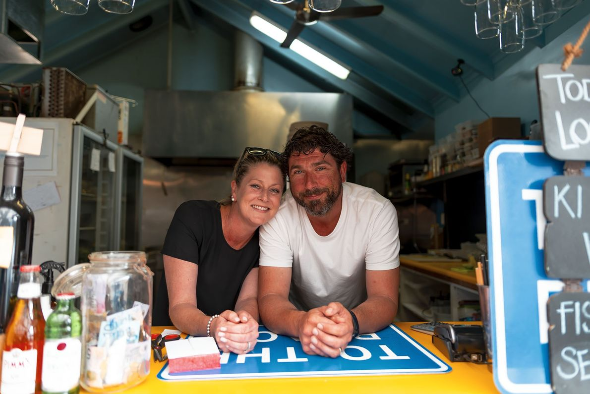 Lucy Cooper (left) and Josh Deer (right) lost everything in the fires except their cafe and ...