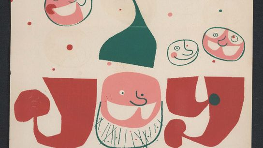"Frederick Hammersley's card from the 1950s features the word ""Joy"" made out of Santa, elves, and ..."