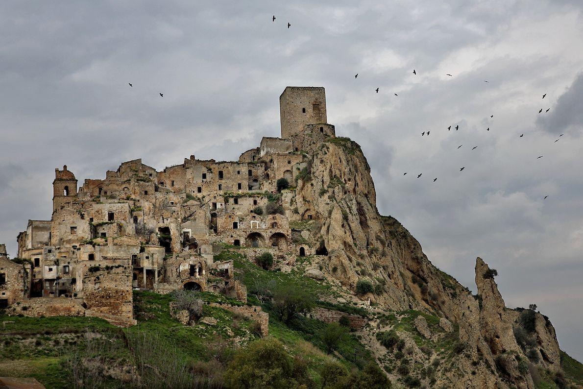 The medieval town of Craco emptied in the late 20th century due to landslides.