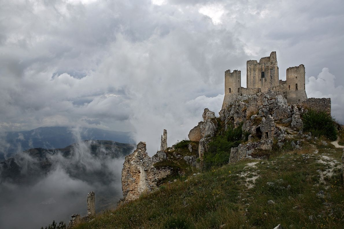 The hilltop fortress of Rocca Calascio was damaged by an earthquake in 1703.