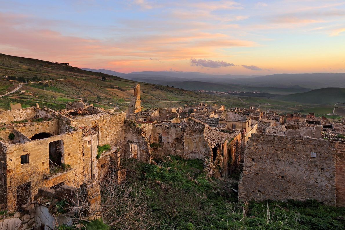The ghost town of Poggioreale fell into disrepair following a series of earthquakes in the 1960s.