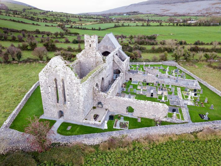 Near Bell Harbour, find the ruins of 12th-century Corcomroe Abbey.