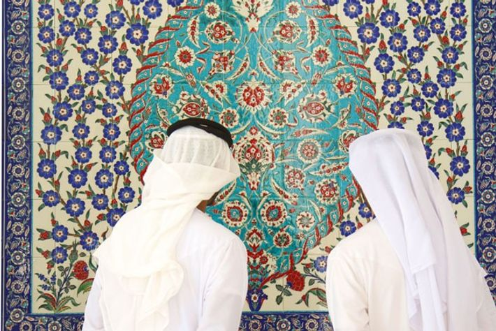 Admiring artwork at Sheikh Zayed Mosque, Abu Dhabi.