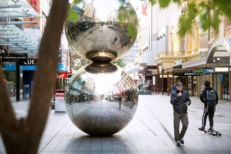 'The Mall's Balls', two reflective steel spheres stacked one on top of the other, at Rundle ...