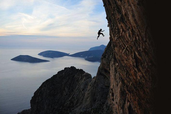 Alex Honnold on a steep limestone route, Greece