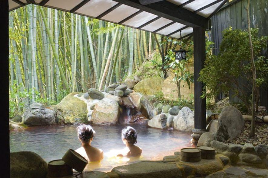 Women bathing in Yumotoso, a hot spring resort