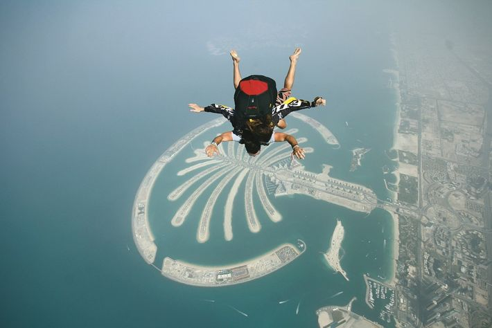 Skydiving over Palm Jumeirah. Image: Dubai Tourism