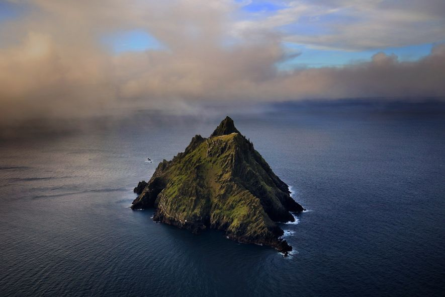 Skellig Michael, the larger of two ragged islands of sandstone and slate in the Atlantic of ...