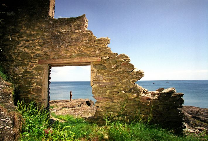 A ruined building at Hallsands, Devon. The village – on the same coastline where Albarn has a ...