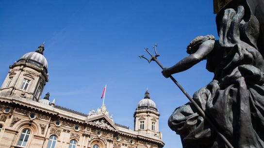 Statue and The Maritime Museum Queen Victoria Square Kingston upon Hull East Yorkshire England