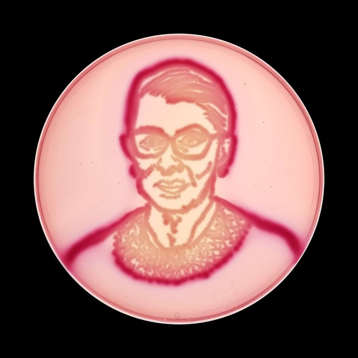 Supreme Court Justice Ruth Bader Ginsburg—aka RBG—appears on a type of agar known as violet red ...