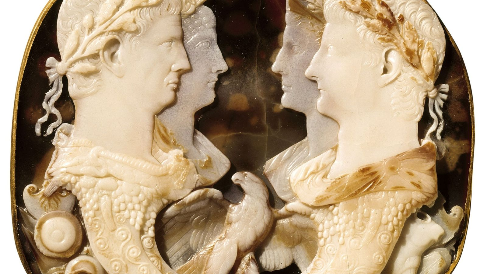 Agrippina and Claudius opposite her parents. Cameo, A.D. 48. Kunsthistorisches Museum, Vienna