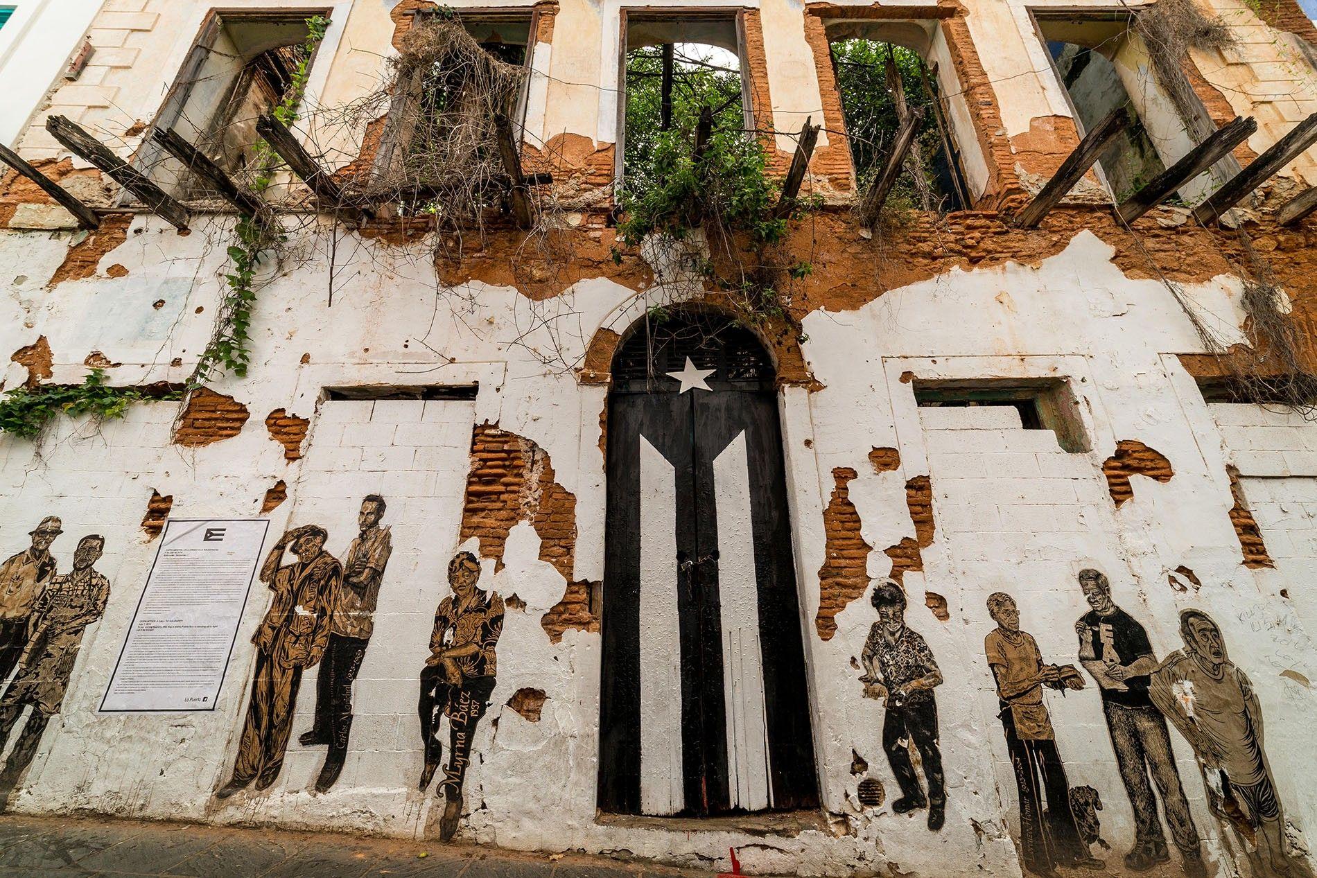 La Puerta de la Bandera in Old San Juan, painted black and white in protest of ...