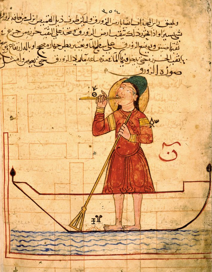 A miniature from al-Jazari's Book of Knowledge depicts a water-powered flautist automation that he described as ...