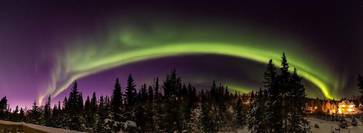 An aurora illuminates the sky over Alaska on November 4, 2018.