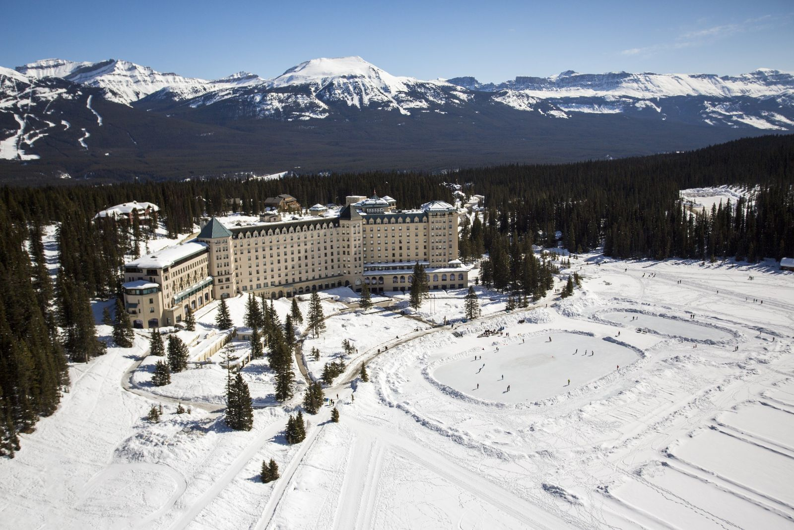 The Fairmont Chateau Lake Louise is surrounded by soaring mountain peaks and is located within Banff ...