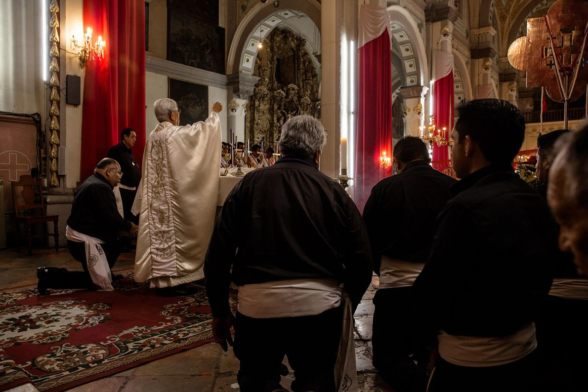Members of the confraternity participate in mass services on Sundays and during liturgical occasions like Holy ...