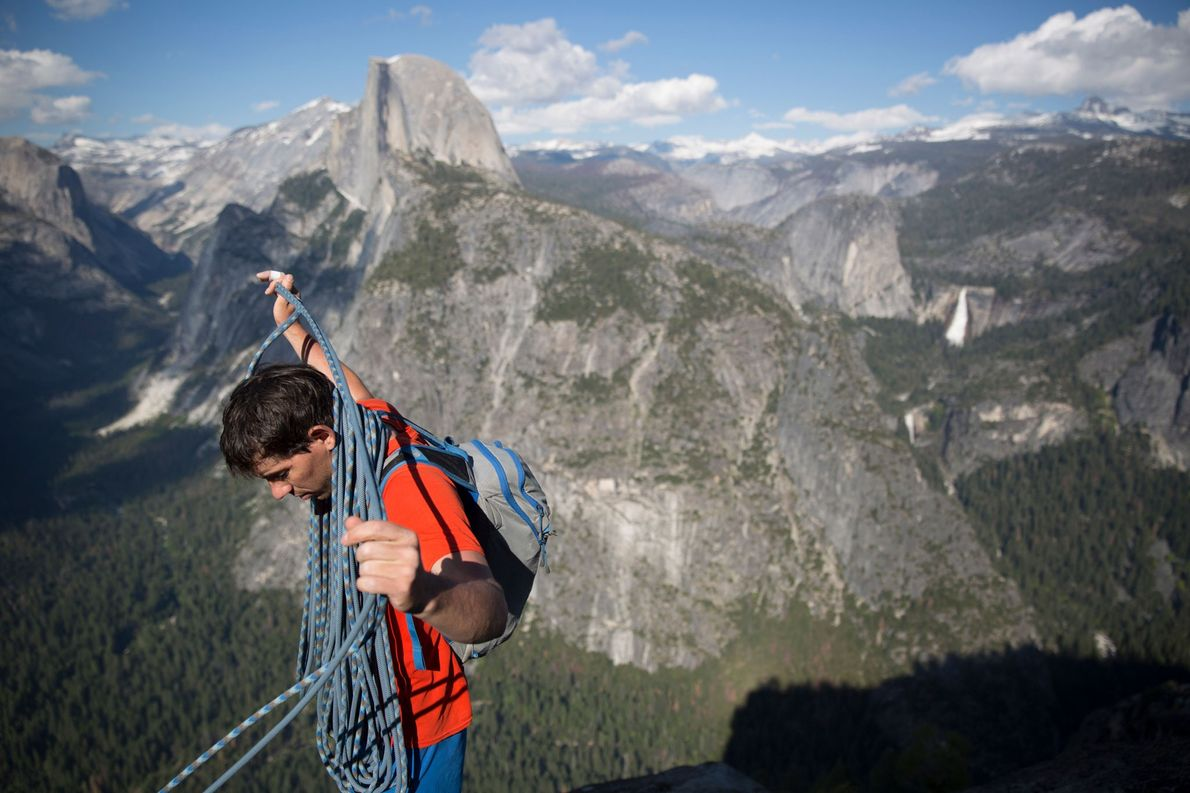 Honnold coils his climbing rope having just finished climbing Galatic Hitchhiker with Jimmy Chin. They topped ...
