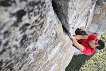 Rock climber Alex Honnold training on Freerider for the first ever rope-free climb of El Capitan ...
