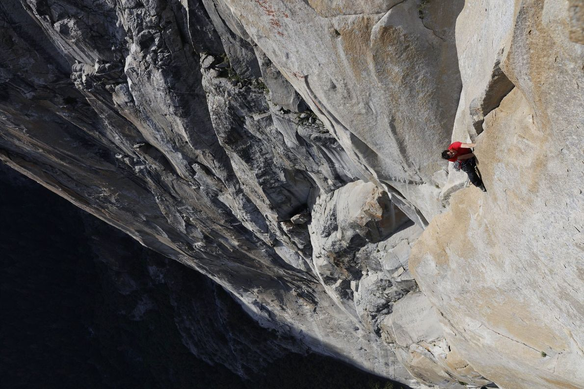Alex Honnold makes his way up Freerider on El Capitan during one of the numerous training ...