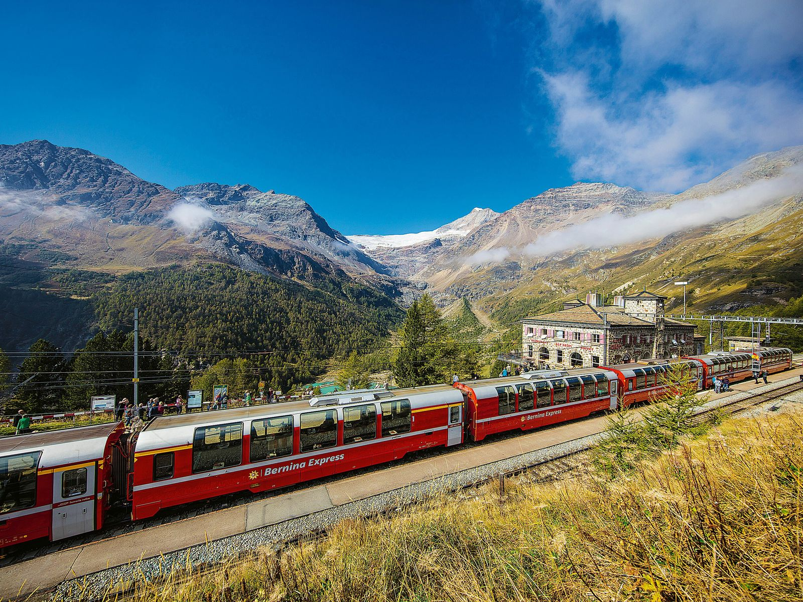 The Bernina Express route takes in breathtaking sites along the way, such as the Alp Grüm ...