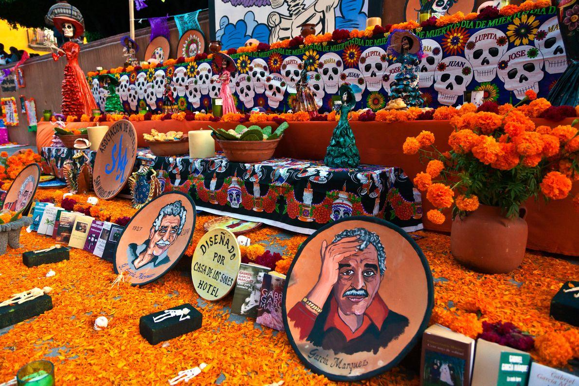 Likenesses of author Gabriel García Márquez line an altar in San Miguel de Allende, Mexico.