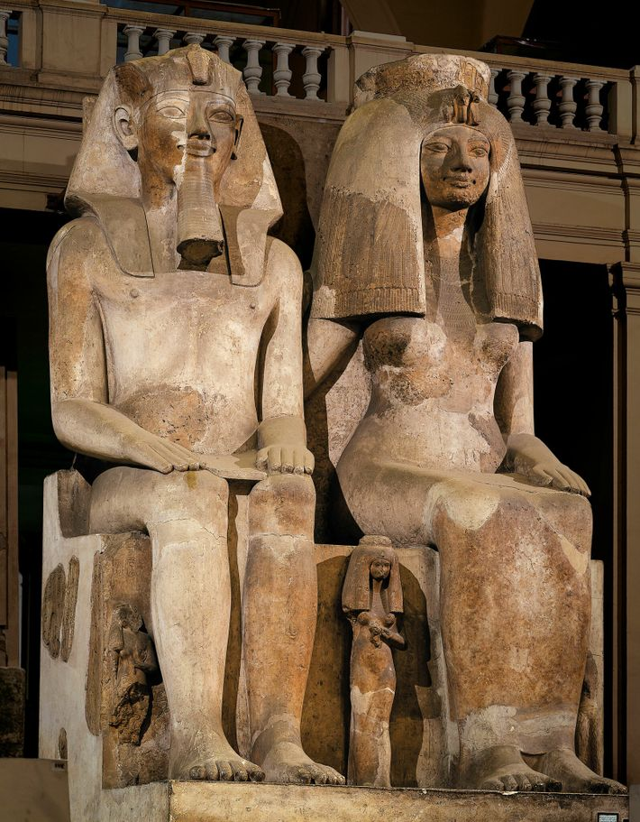Amenhotep III and his wife Tiye were often the same size in their statues, indicating a ...