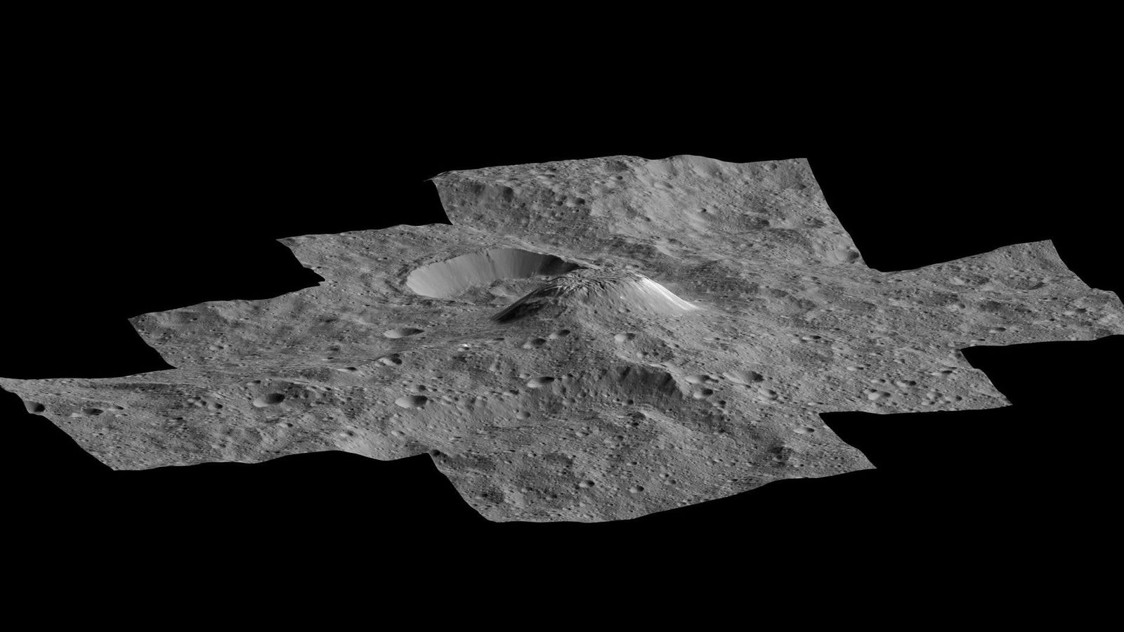 The mysterious ice volcano Ahuna Mons rises over the landscape on Ceres in this picture created ...