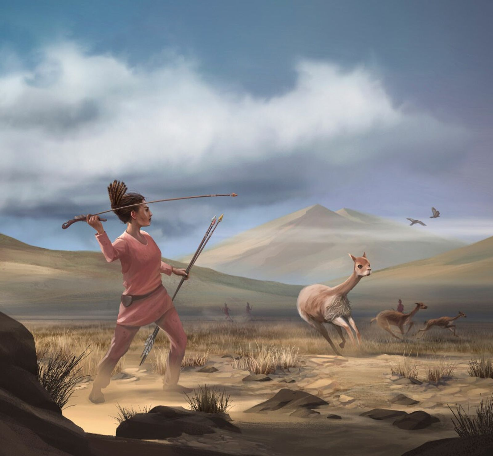 An artist's depiction of what hunting may have looked like in the Andes Mountains of South ...