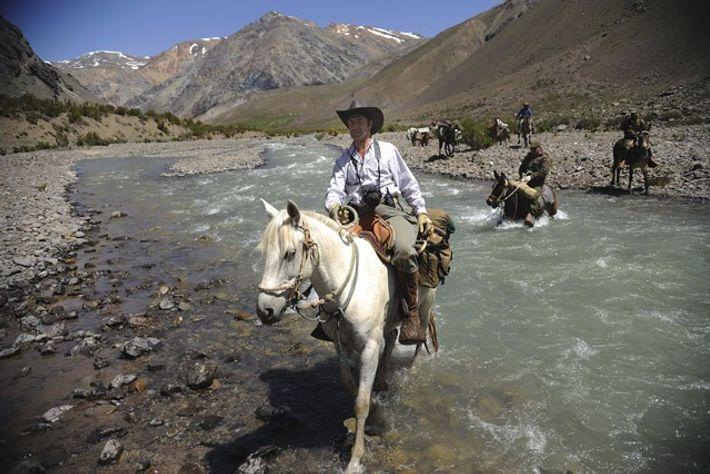 Lead guide Eduardo crosses the river. Image: Shawn Hamilton