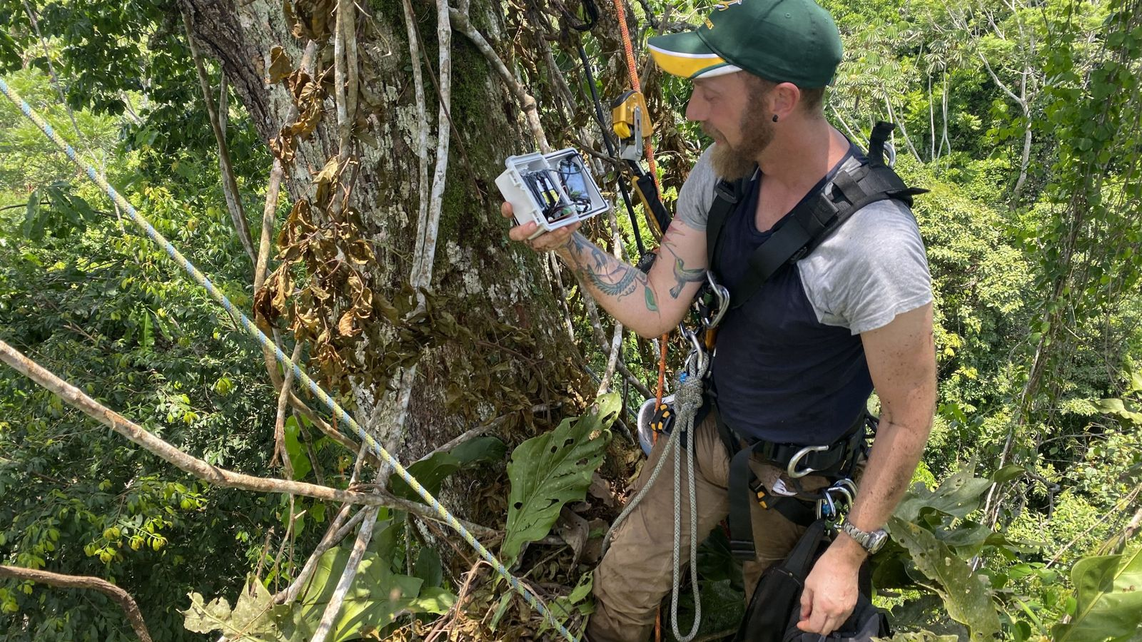 National Geographic Explorer Andy Whitworth and a rainforest camera trap. Hear more about Andy's conservation work ...