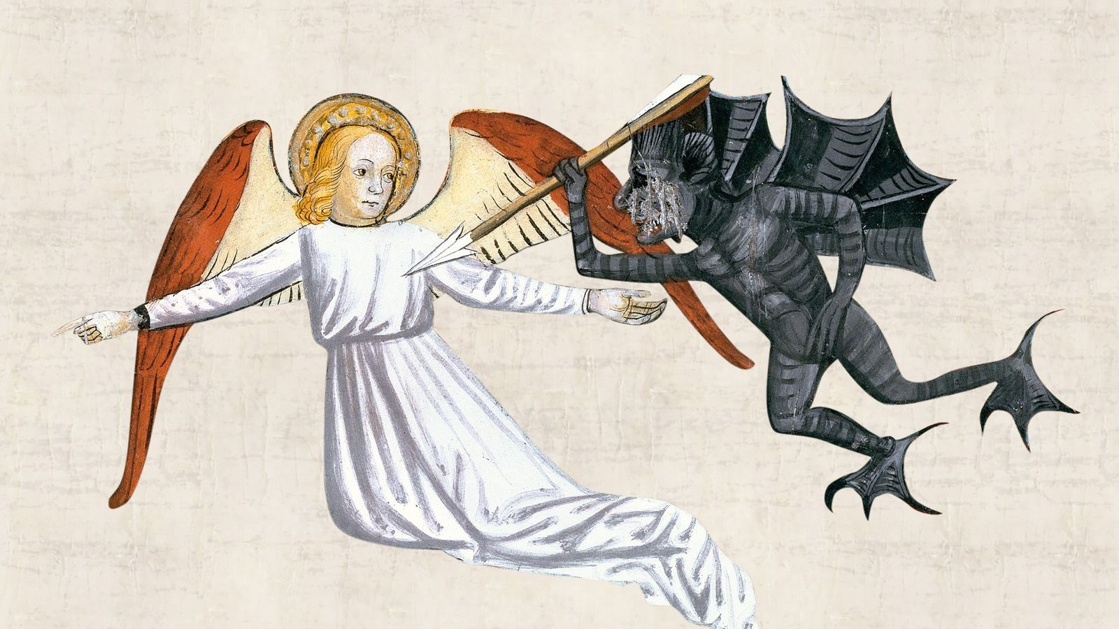 An angel points at a sinner who has been the victim (not pictured) of the plague ...
