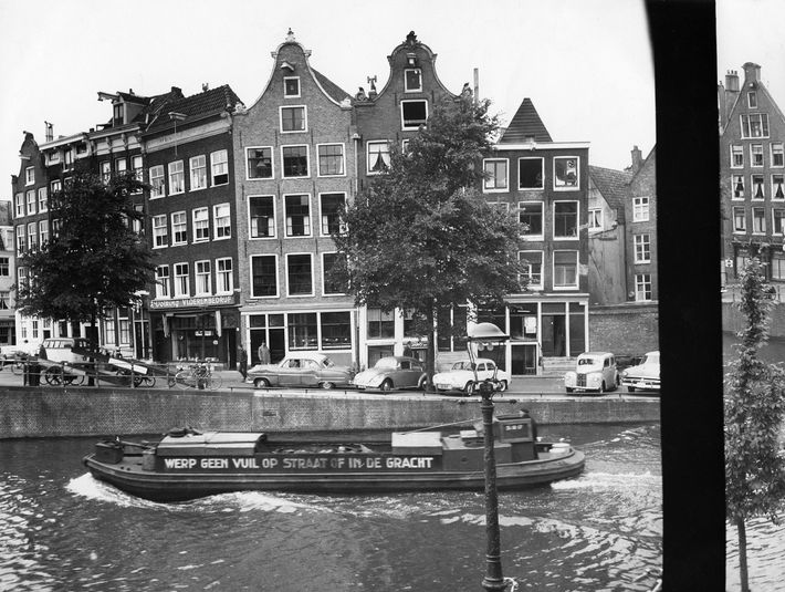 The view from the annex where Anne Frank and seven others—her sister and parents; the van ...