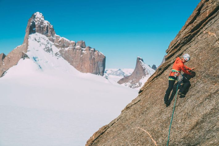 Anna Pfaff leads the way up an unnamed peak in the Wolf's Jaw massif.