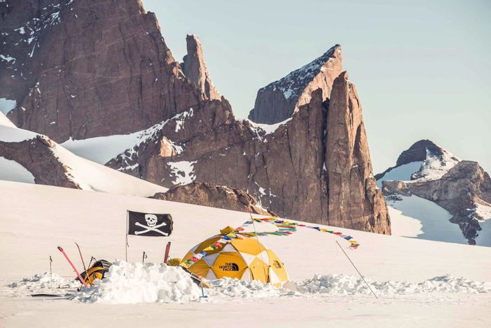 The team's basecamp and home during their time in Queen Maud Land sat beneath the gigantic ...