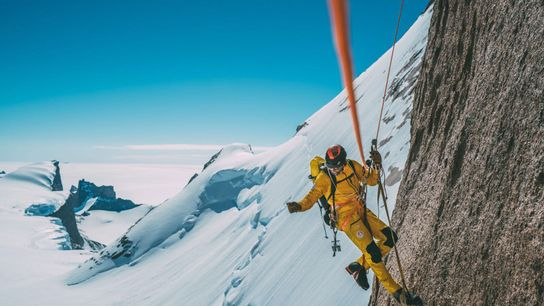 Conrad Anker climbs up a new route—one he eyed within minutes of landing in the mountain ...