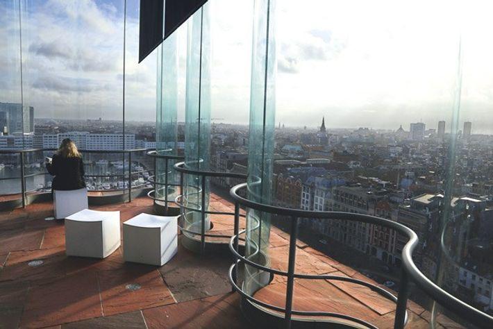 View of the city from inside MAS (Museum aan de Stroom)