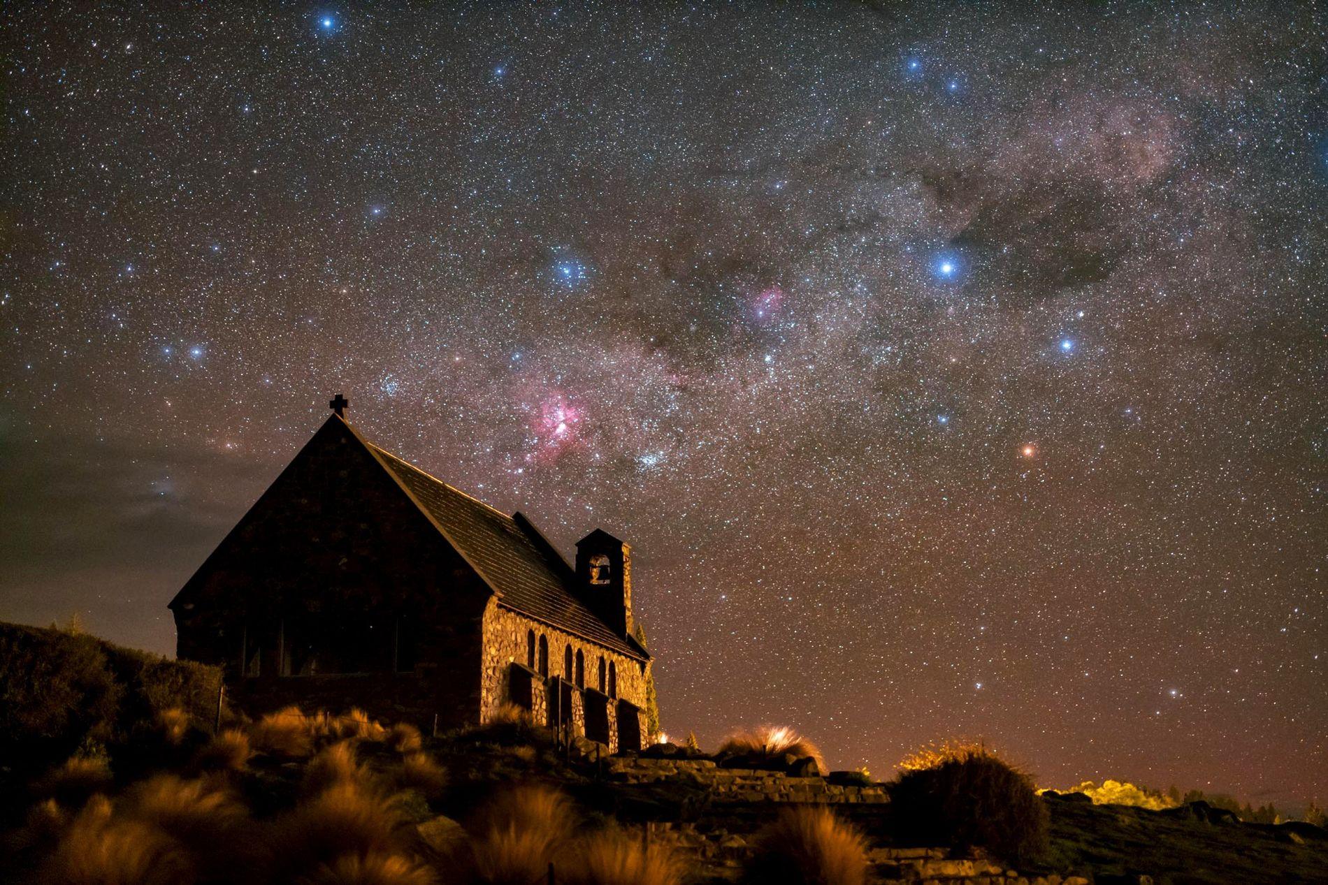 Stars sprawl above the Church of the Good Shepherd in New Zealand's Aoraki Mackenzie Reserve.