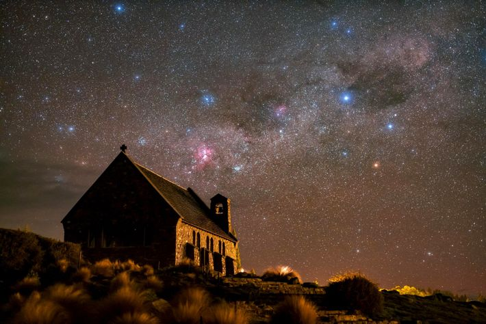 Stars sprawl above the Church of the Good Shepherd in New Zealand's Aoraki Mackenzie Reserve.