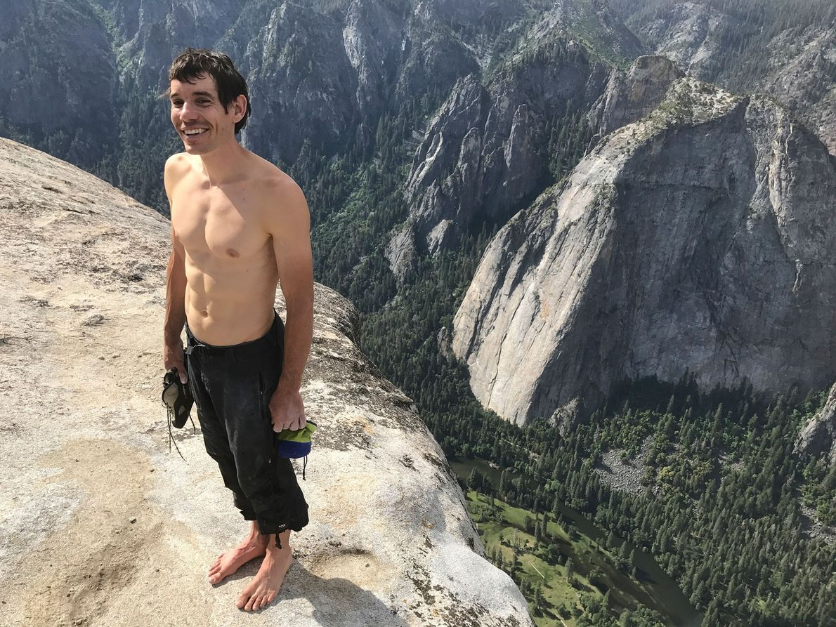 Honnold stands at the top of El Capitan after completing its first-ever free solo.