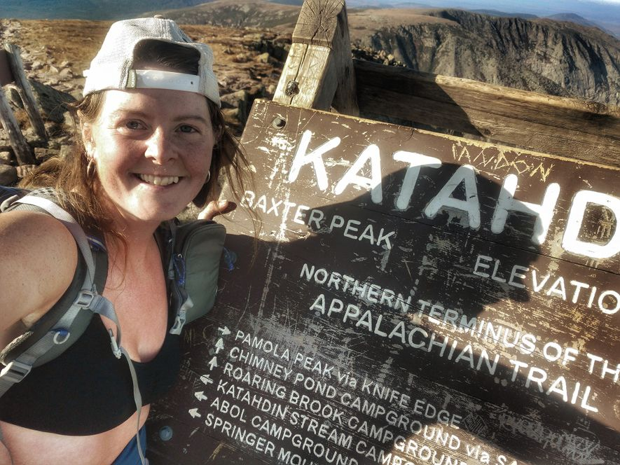 Anderson celebrates completing the Appalachian Trail at Maine's Mount Katahdin, the northern terminus of the iconic ...