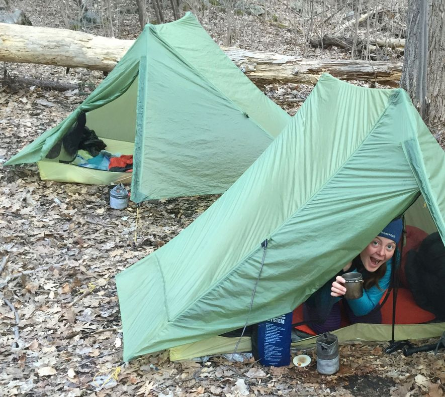 Anderson makes camp on a New Jersey section of the Appalachian Trail. During her record-setting treks, ...